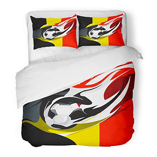 Emvency Decor Duvet Cover Set Full/Queen Size Ball Belgian Football Belgium Billboard Blazon Champion Championship Club Emblem 3 Piece Brushed Microfiber Fabric Print Bedding Set Cover ()