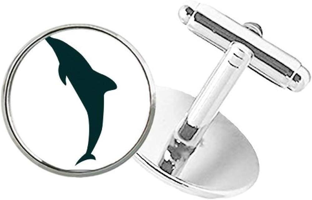 Blue Ocean Friendly Streamline Dolphin Round Button Cuff Clip Stud Cufflinks