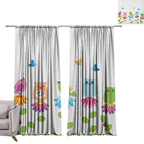 - berrly Blackout Curtain Panels Flowers,Colorful Cartoon Style Birds on Chamomile Daisy Flowers Butterflies Ladybugs Kids, Multicolor W96 x L84 Art Grommet Window Drapes
