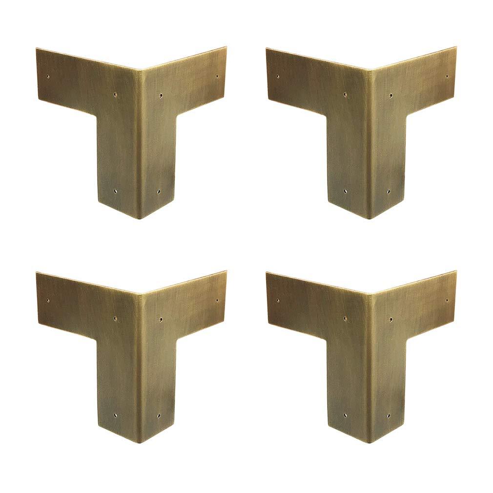 Tiazza 4Pcs Antique Pure Brass Heavy Duty Corner Protectors Braces Classical Furniture Tables and Chairs Cabinet Corner Guard (Antique Bronze)