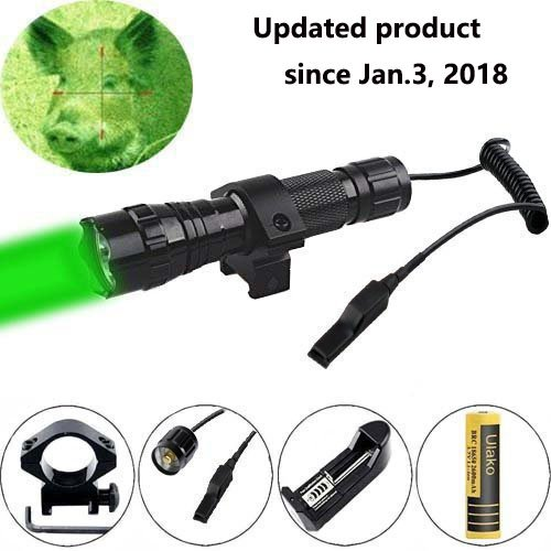 Ulako Green Light LED Coyote Hog Pig Varmint Predator Hunting Light Flashlight with Remote Pressure Switch (Best Ar 15 Scope For Hog Hunting)