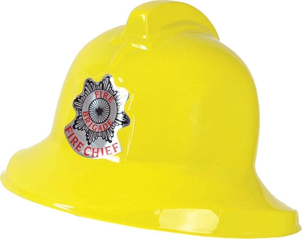 Fireman Yellow Plastic Helmet Job Occupation Fancy Dress Accessory Uk Creativeminds UK