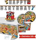 Construction Party Supplies - Plates Cups Napkins Banner Tablecloth and Centerpiece for 16 People - Perfect Handyman Construction Birthday Party Decorations!