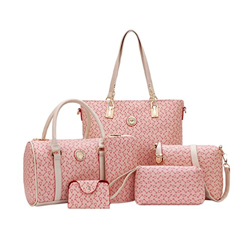 Set Women Bags Kairuun Crossbody Pattern Shoulder 6 Handbag Bag Large Tote Arrow Pink Wallet Capacity 0Eqqrda