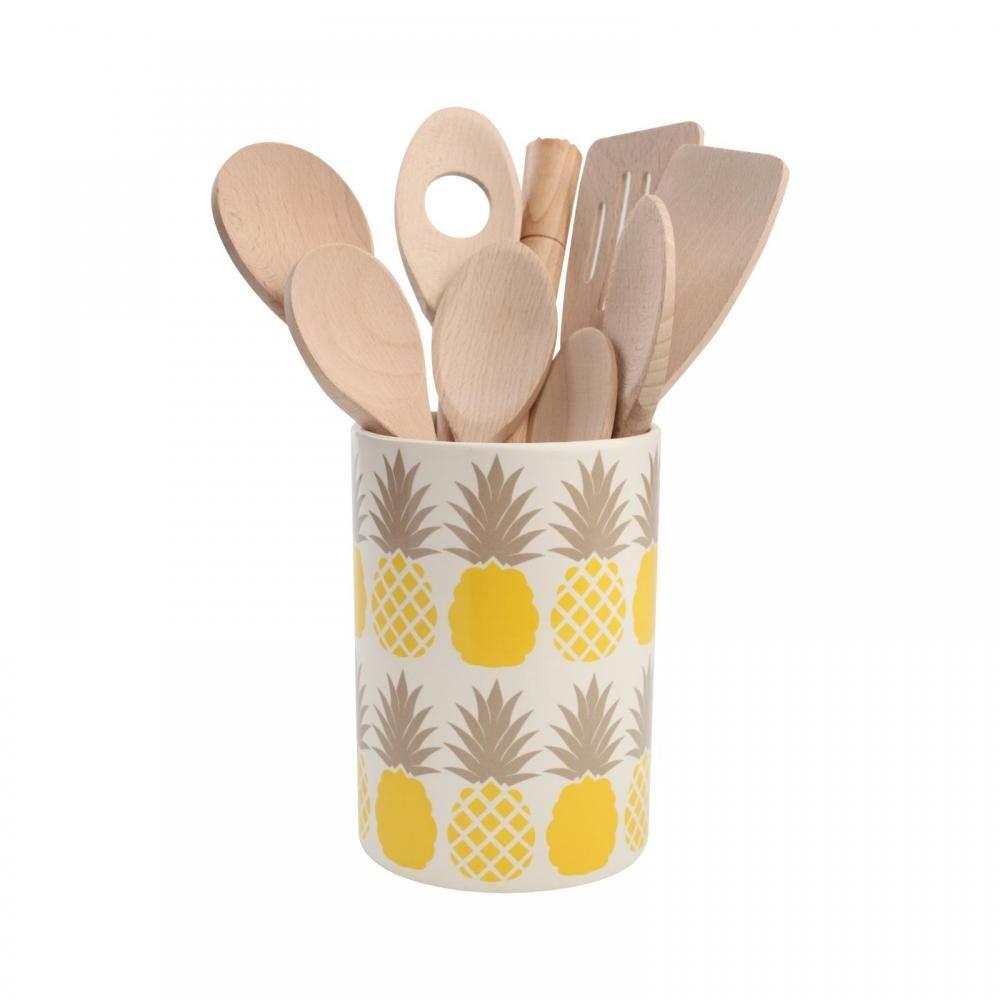 Tarro de cocina con dise/ño de pi/ña color gris y amarillo T/&G Tutti Frutti
