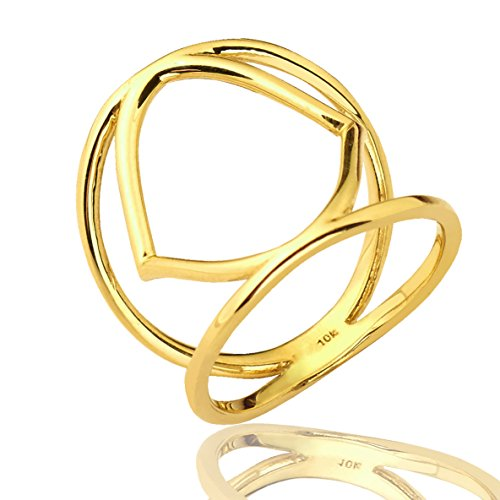 Mr. Bling 10K Yellow Gold Unique Shaped Cut Out Geometric Design Ring, Available in Sizes 5-9 (8)