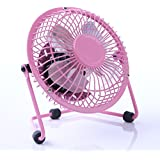 Magic Personal Handheld Fan 4 USB Mini Desktop Metal Fan with ON/OFF Switch for PC / Laptop Pink