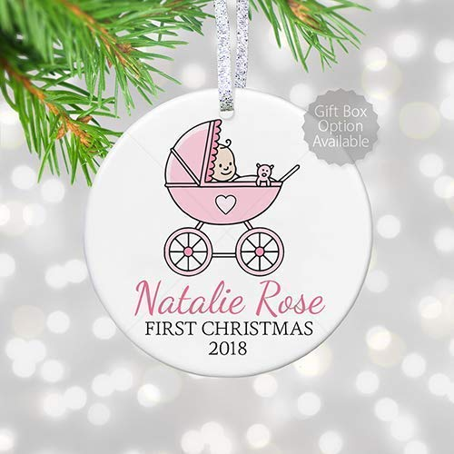 Baby's 1st Christmas Pink Baby Carriage Ornament, Personalized First Christmas Gift for Girl in Pram - 3