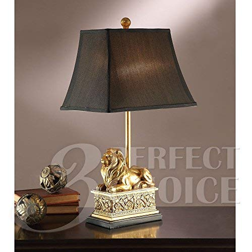 Poundex PDEX-F5380 PDEX-F5380-A Perfect Choice Elegant Lion Sculpted Base Square Shade Table Lamp Lighting, Gold, 2 Piece