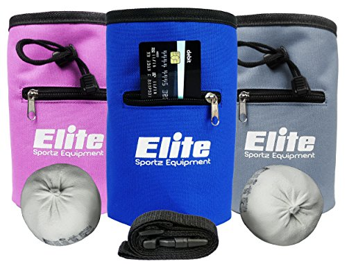 Elite Rock Climbing Chalk Bag and 2 x Chalk Balls Chalk for Rock Climbing and Bouldering or use as Gym Chalk or Lifting Chalk No Leak Drawstring Bag and Secure Zip Pocket