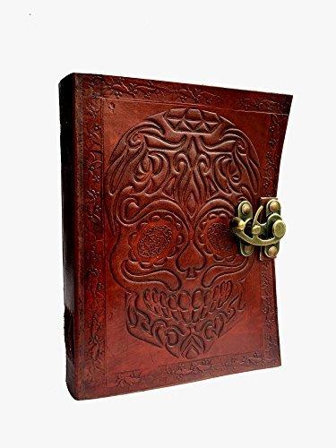 Genuine Handmade Skull Leather Journal Notebook Blank Book