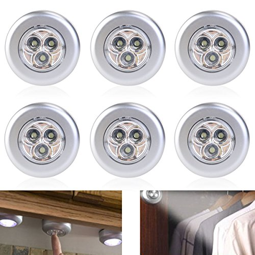 Tinksky Set of 6 Click Push LED Lamp Night Light Lamps Battery Operated Self-adhesive Kitchen Lights Cabinet Lights, White Light by TINKSKY