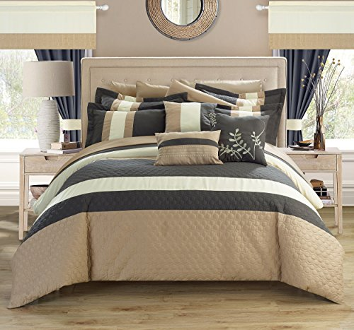 24 piece covington complete bedroom set with octagon embroidery queen