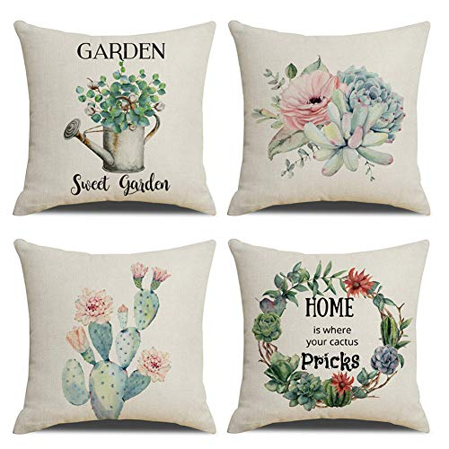 KACOPOL Cactus Succulent Plants Pillow Covers Summer Decorative Farmhouse Quotes Garden Sweet Garden Cotton Linen Throw Pillow Case Cushion Cover for Sofa Bed Decor 18