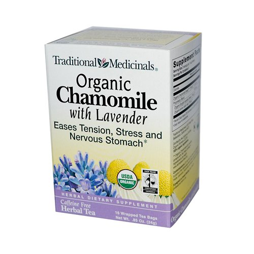 Traditional Medicinals Organic Chamomile with Lavender Herbal Tea - 16 Tea Bags - 95%+ Organic -