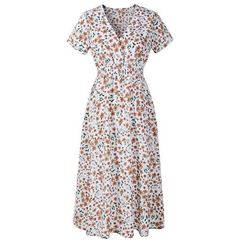 Manche Col Courte Ete Imprim Portefeuille Floral Robe Robe Profond V Aswinfon Mi Blanc Femme Longue lgante nYp8zUwqUF