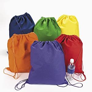 Amazon.com: Large Bright Canvas Drawstring Backpacks (1 dozen ...