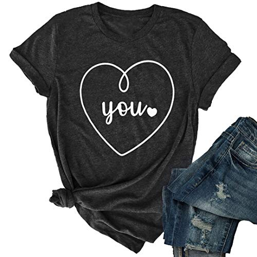 JINTING Cute Heart Graphic Tee Shirt for Women Teen Girls Juniors Short Sleeve Letter Print Tee Shirts with Sayings Dark Grey ()