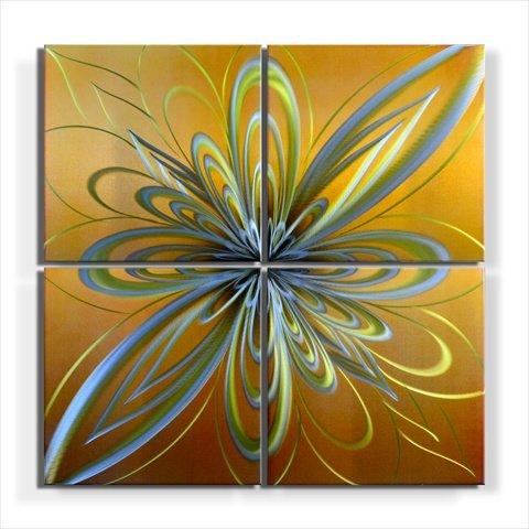 Metal Artscape Carmel Swirls 4-Paneled Handmade Metal Wall Art, 32 by 32-Inch