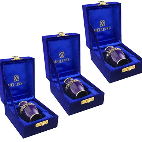 - MEILINXU Keepsake Urns Set of 3-Cremation Urn Brass Mini Funeral Urns for Human Ashes Adult-Fits a Small Amount of Cremated Remains-Display Burial Urn at Home or Office (Elsene Purple Baby Urn