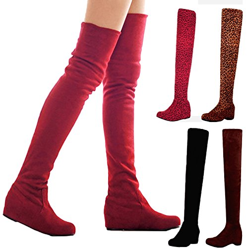 Nonbrand Ladies internal wedge thigh length boots winter faux suede shoes Brown Ompc7A