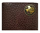Custom Antique Brass Texas Praying Cowboy Church Concho on a Rugged American Buffalo Chocolate Brown Leather Flip ID Bi-fold Wallet. Proudly made in the USA.