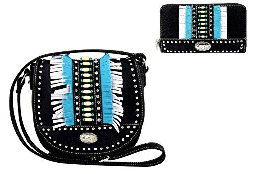 - Montana West Aztec Hippy Fringe Messenger Bag Purse Wallet Set Black Turquoise