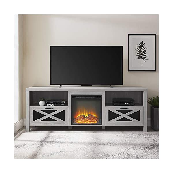 Walker Edison Calgary Industrial Farmhouse X-Drawer Metal Mesh and Wood Fireplace TV Stand for TVs up to 80 Inches, 70…