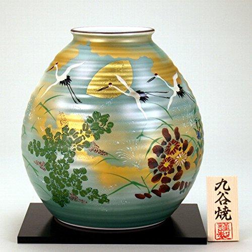 九谷焼 N29-08 木台付 花瓶 8号 金箔秋月文 24×24.5cm 木箱 B00DIN24TQ
