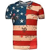 Shirt, Han Shi Fashion Men Coloful American Flag Star Print Patchwork Short T Shirt Blouse (L)
