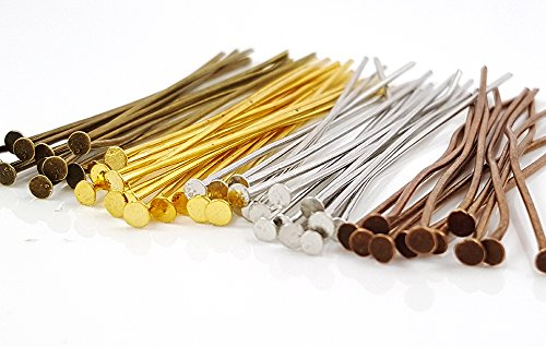 Pins Jewelry Findings - 200pc Solid Brass Assorted Mixed Color Flat Head Pins for Jewelry Making (2 inch, 50mm, 21 Gauge)