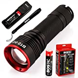 BOSTAC™ BTZ-50R Rechargeable Tactical Flashlight - Professional Hand Held Light with Zoom Reflector, CREE USA LED Bulb, 3,200 Effective Lumens, Sealed Against Solvents, 3500Mah 26650 Battery