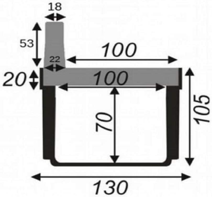 Bielbet Schlitzrinne H = 158 mm 26,50/€//m Entw/ässerungsrinne Flachrinne Hofablauf KG Rohr 1m Set, Schwarz