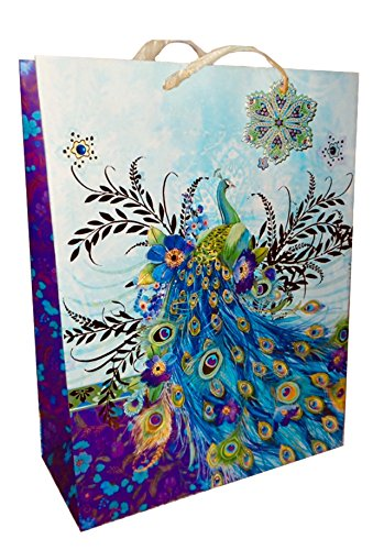 Blossom Peacock - Punch Studio Large Vertical Gold Foil 3-D Embellished Gift Bag w/Gift Tag ~ Blue Blossom Peacock 16698