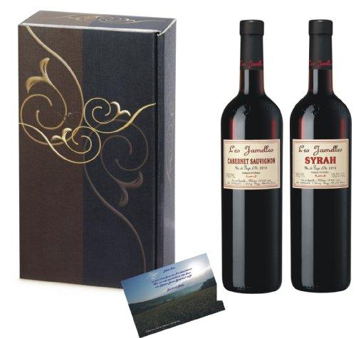Weinsortiment Les Jamelles Rotwein Frankreich in 2er Geschenkverpackung Elegance