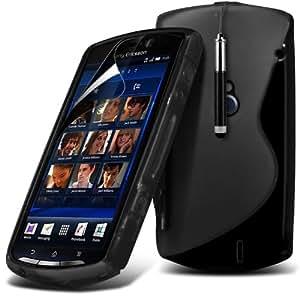(Negro) Sony Neo MT15i Protección onda S Línea Gel piel cubierta retráctil Capacative Pantalla Táctil Lápiz Óptico & 6 Pack Protector de pantalla LCD Protector de Fone-Case