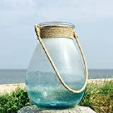 The Beach Chic Large Rope Aqua Hurricane Wind-light, Artisanal Glass, Hand Blown, Rustic Blue with Natural Rope Handles, 8 1/4 x 8 1/4 x 10 5/8 inches (27h x 21d cm) By Whole House Worlds