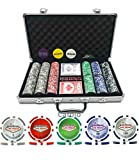 #7:  Premium 300 pcs 11.5 gram Striped Welcome to Las Vegas Poker Chip Set w/3 Dealer Buttons, 2 Decks of Cards,Big/Small Blind and Dealer Button in Aluminum Case