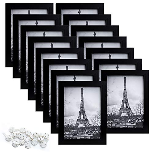 upsimples 5x7 Picture Frame Set of 15,Multi Photo Frames Collage for Wall or Tabletop Display,Black (Hanging Picture Black Frames 5x7)