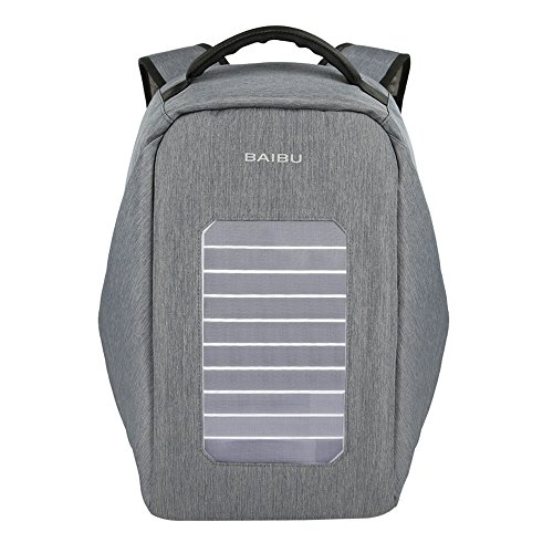 Solar Powered Charger Backpack,Polyester Waterproof Outdoor Travel Camping Rucksack Anti-theft 16'' Business Laptop Backpack (Grey) by BAIBU (Image #1)