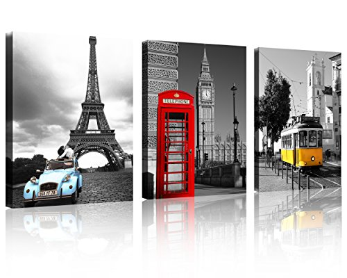 TutuBeer 3 Pcs Black and White with Eiffel Tower Red Car NYC Paris London Eiffel Tower New York City France Europe Big Ben Car Colorful Bus 3 Panel Set Wall Art Decor Canvas Framed Ready to Hang by QICAI