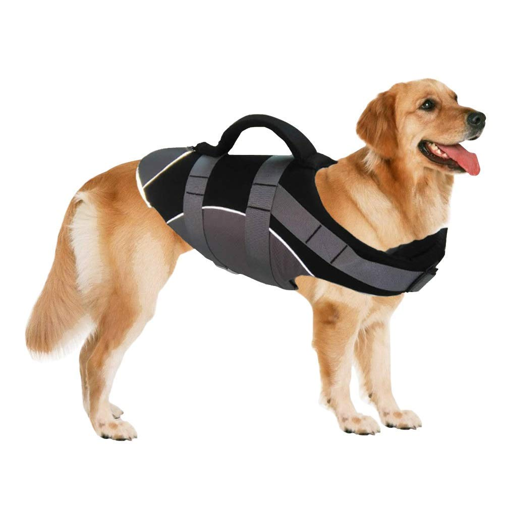 Black L Black L Dog LifeJacket,Summer Reflective Super Buoyancy Dog Safety Vest,Black,L