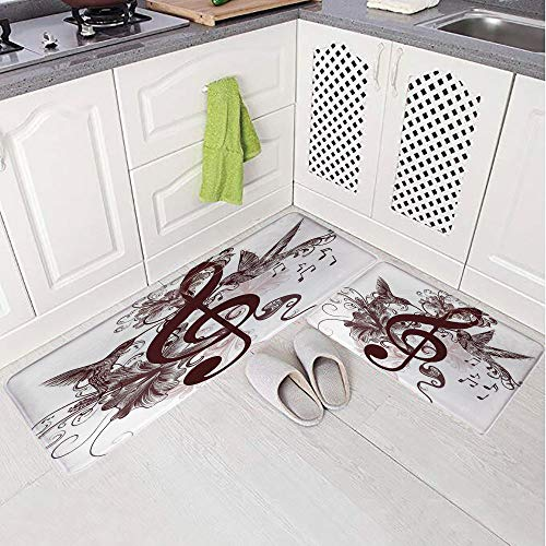 2 Piece Non-Slip Kitchen Mat Rug Set Doormat 3D Print,Treble Clef and Singing Flying Birds Sparrows Art,Bedroom Living Room Coffee Table Household Skin Care Carpet Window Mat,