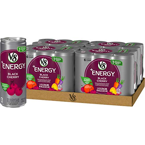 V8 +Energy, Juice Drink with Green Tea, Black Cherry, 8 Fluid Ounce(4 packs of 6, Total of 24)