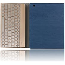 iPad 2/3/4 Keyboard Case,Dingrich Protective Trifold Premium Leather Case with 7-Color Backlit Magnet Bluetooth Aluminum Keyboard for iPad 2 iPad 3 iPad 4 (Dark Blue)