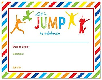 Amazon Com 24 Jump Bounce Fill In Kids Birthday Party Invitations
