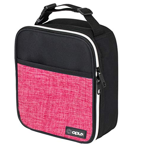 OPUX Premium Thermal Insulated Mini Lunch Bag | School Lunch Box For Girls, Kids, Adult Women | Soft Leakproof Liner | Compact Lunch Pail for Office (Heather Pink)