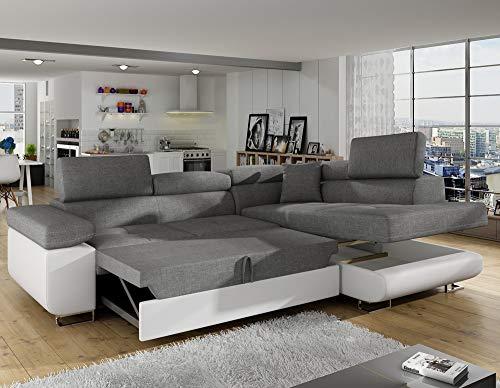 INTENSEDECO Canapé d'angle Droit Convertible Marius Gris et Blanc
