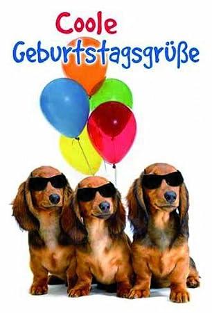 Karte Geburtstag Motiv Dackel Mit Luftballons 5 Stuck Amazon De