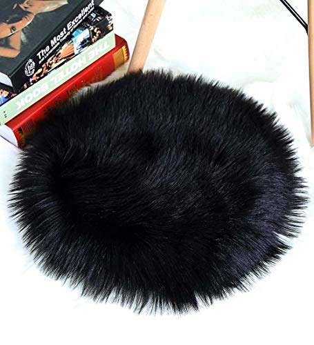 - CN-Culturegg Round Faux Fur Sheepskin Chair Cover Seat Cushion Pad,Super Soft Area Rugs for Living & Bedroom Sofa by (1.3ft x 1.3ft,Black)